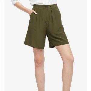 Mulberry Navy 100% Silk High Rise Shorts